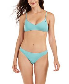 Juniors' Solid Beach Classics Athletic Triangle Bikini Top & Bikini Bottoms