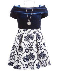 Big Girls 3-Pc. Velvet Bodysuit, Flocked Floral-Print Skirt & Necklace Set