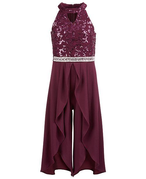 Beautees Big Girls Embellished Embroidered Jumpsuit