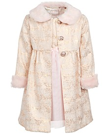 Toddler Girls 2-Pc. Faux-Fur-Trim Coat & Dress Set