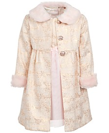 Blueberi Boulevard Little Girls 2-Pc. Faux-Fur-Trim Coat & Dress Set