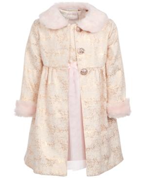 50s Girl Costumes, 50s Girl's Dresses Blueberi Boulevard Toddler Girls 2-Pc. Faux-Fur-Trim Coat  Dress Set $44.40 AT vintagedancer.com
