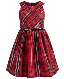 Big Girls Plus Size Belted Plaid Taffeta Dress