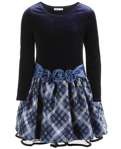 Bonnie Jean Toddler Girls Velvet Drop-Waist Plaid Dress