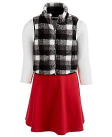 Sequin Hearts Big Girls 2-Pc. Plaid Vest & Colorblocked Dress Set