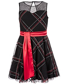 Big Girls Glitter Plaid Dress