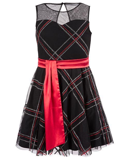Sequin Hearts Big Girls Glitter Plaid Dress
