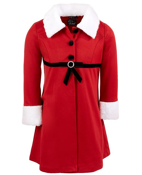 Pink & Violet Little Girls 2-Pc. Mrs. Claus Coat Dress Set