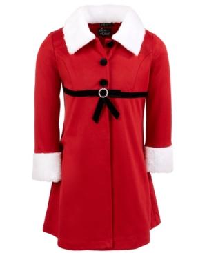 60s 70s Kids Costumes & Clothing Girls & Boys Pink  Violet Little Girls 2-Pc. Mrs. Claus Coat Dress Set $34.00 AT vintagedancer.com