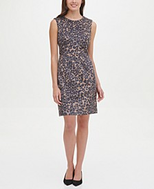 Faux-Suede Leopard Scuba Sheath Dress