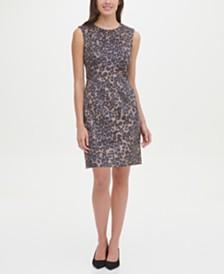 Tommy Hilfiger Faux-Suede Leopard Scuba Sheath Dress