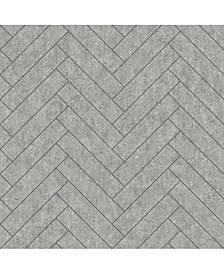 "Engblad Co 21"" x 396"" Raw Tiles Light Herringbone Concrete Wallpaper"