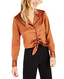 Becca Tilley x Tie-Front Satin Top, Created for Macy's