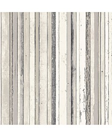 "20.5"" x 396"" Bodhi Distressed Stripe Wallpaper"