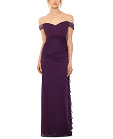 Betsy & Adam Off-The-Shoulder Ruched Gown