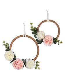 The Peanutshell Farmhouse Floral Ring Wall Décor 2-Pack