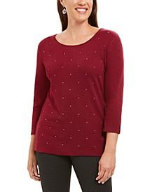 Studded 3/4-Sleeve Top, Created For Macy's