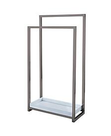 Pedestal 2-Tier Steel Construction Towel Rack with Wooden Case
