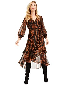 Becca Tilley x Animal Print Ruffle Wrap Dress, Created For Macy's