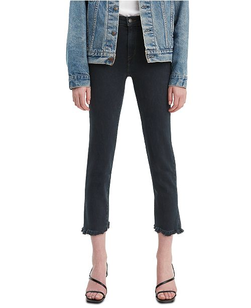 Levi's 724 Raw-Hem Cropped Straight-Leg Jeans