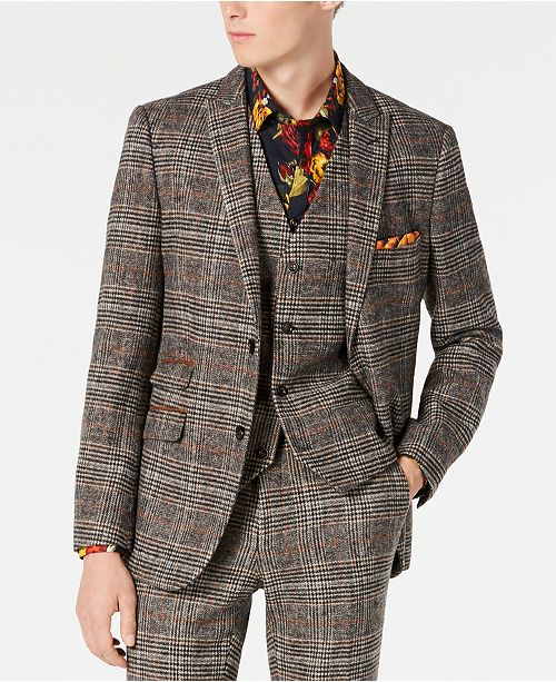 Paisley & Gray Men's Slim-Fit Plaid Blazer Made With Recycled Wool