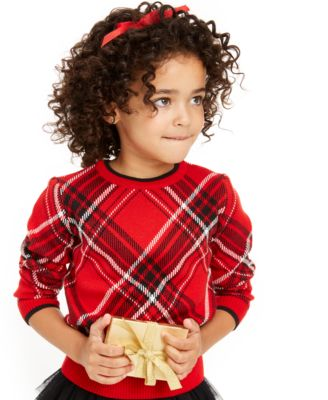 Little Girls Plaid Family Sweater, Created For Macy's