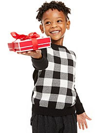 Little Boys Buffalo Check Family Sweater, Created for Macy's