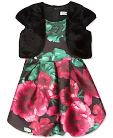 Little Girls 2-Pc. Faux-Fur Vest & Floral-Print Bubble Dress