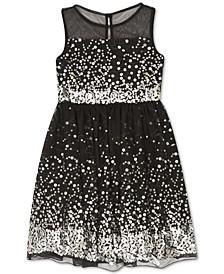 Big Girls Illusion Sequin Dress