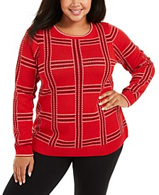 Plus Size Metallic Plaid Sweater, Created For Macy's