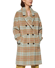 Marc New York Double-Breasted Plaid Coat