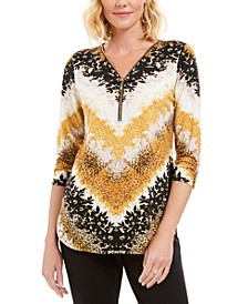 Printed Zipper-Neck Tunic, Created For Macy's