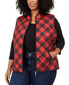 Plus Size Cozy Plaid Puffer Vest, Created For Macy's