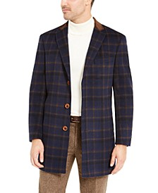 Orange Men's Slim-Fit Brown Windowpane Overcoat