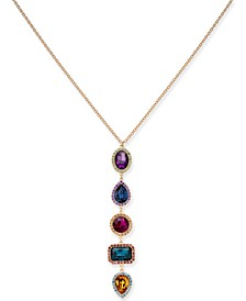 "INC Gold-Tone Multi-Stone & Crystal Halo Pendant Necklace, 28"" + 3"" extender, Created For Macy's"
