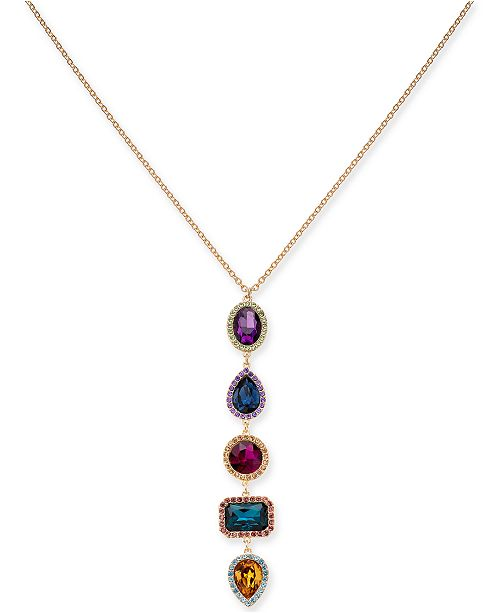 """INC International Concepts INC Gold-Tone Multi-Stone & Crystal Halo Pendant Necklace, 28"""" + 3"""" extender, Created For Macy's"""