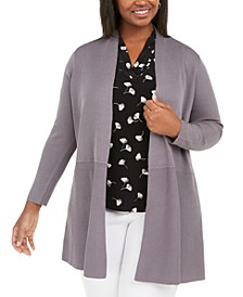 Plus Size Waist-Seam Long Cardigan Sweater