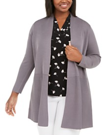 Anne Klein Plus Size Waist-Seam Long Cardigan Sweater
