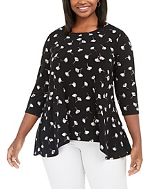Plus Size Printed Trapeze Top