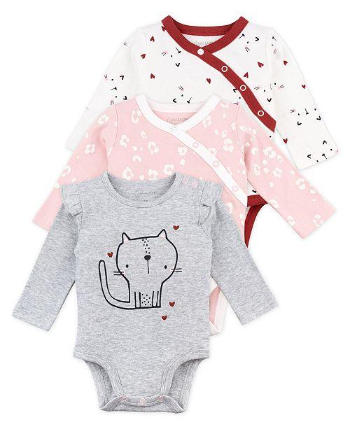 Mac & Moon Baby Girl 3-Pack Long Sleeve Bodysuits