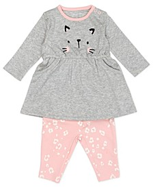 Baby Girl 2-Piece Bodysuit Dress and Legging Outfit Set
