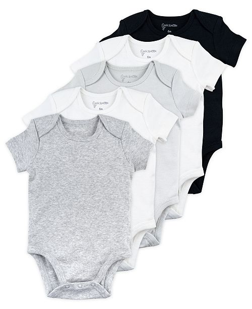 Mac & Moon Baby Boy and Girl 5-Pack Short Sleeve Bodysuits