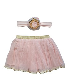 Baby Girl Tutu and Headband Set with Crown and Elegant Trim