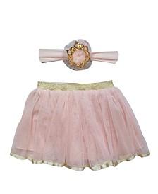 Popatu Baby Girl Tutu and Headband Set with Crown and Elegant Trim