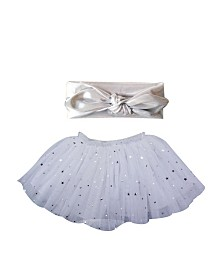Popatu Baby Girl Tutu with Silver Dots and Silver Star Headband