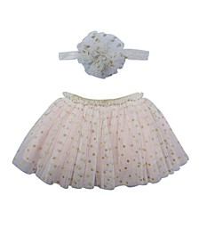 Baby Girl Tutu Skirt and Headband Dotted Set