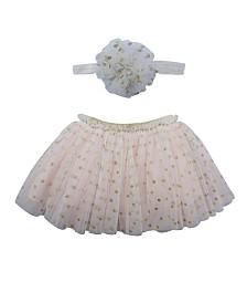 Popatu Baby Girl Tutu Skirt and Headband Dotted Set