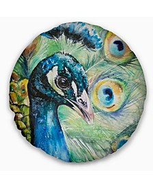 "Larger Peacock Watercolor Abstract Throw Pillow - 16"" Round"