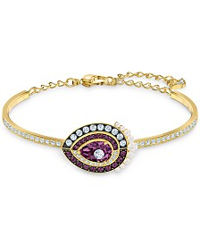 Swarovski Gold-Tone Crystal & Imitation Pearl Bangle Bracelet