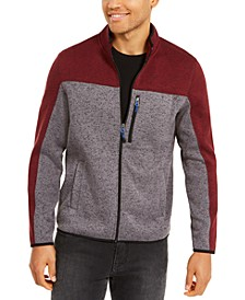 Men's Regular-Fit Colorblocked Full-Zip Fleece Sweater, Created For Macy's